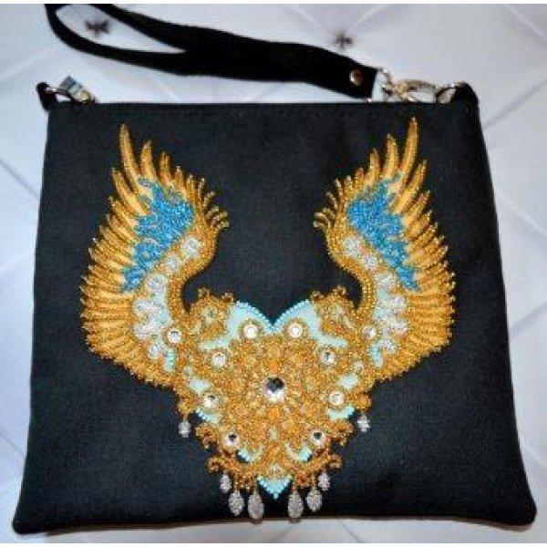 КС-008 Крылатая любовь. Пошитый клатч для вышивки бисером и декоративными элементами. ТМ Миледи, Украина