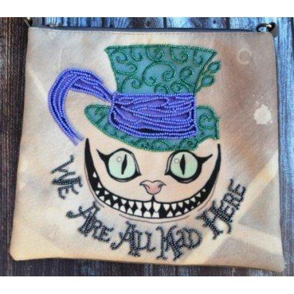 КС-009 We're all mad here. Пошитый клатч для вышивки бисером и декоративными элементами. ТМ Миледи, Украина