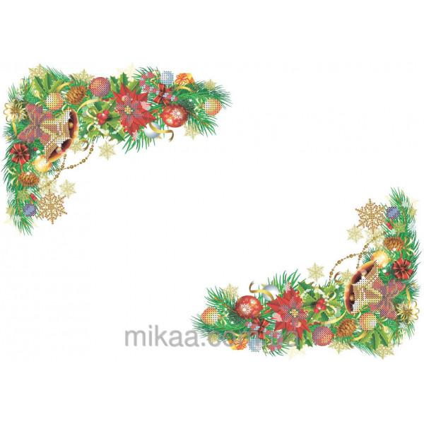 МИКаА-0148 Новогодняя салфетка №1. ТМ МІКаА. Схема для частичной вышивки бисером.