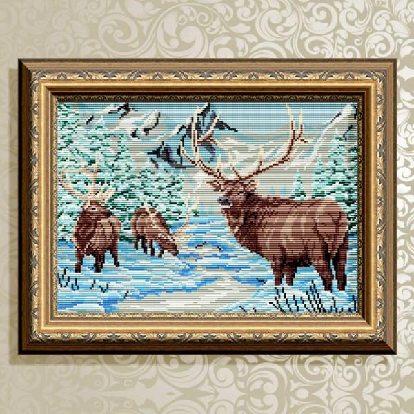 AT3008 Олени в зимнем лесу. ТМ ArtSolo. Набор для полной выкладки алмазами