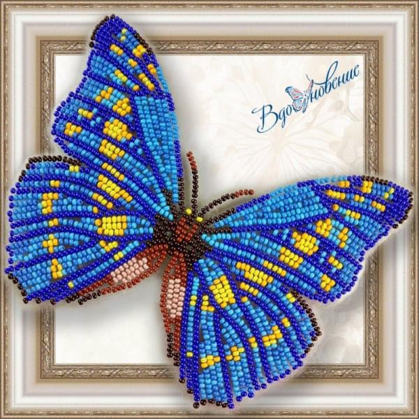 BGP-010 Бабочка Морфо Киприда. ТМ Вдохновение. Набор для вышивки бисером на прозрачном пластике