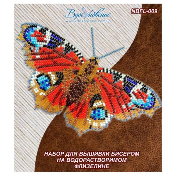 NBFL-009 Бабочка Павлиний Глаз Дневной. ТМ Вдохновение. Набор для вышивки бисером на флизелине