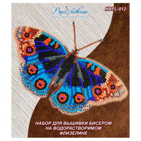 NBFL-012 Бабочка Анютины Глазки. ТМ Вдохновение. Набор для вышивки бисером на флизелине