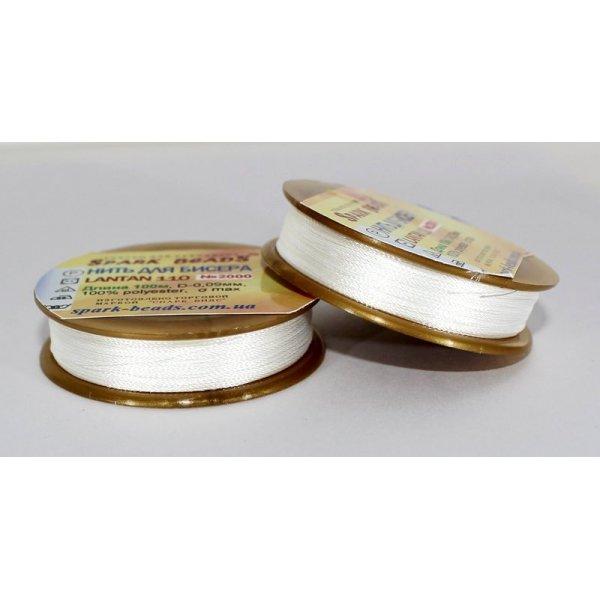 2000  Нить для вышивки Лантан110 (ультра-белый).Spark Beads.100метров