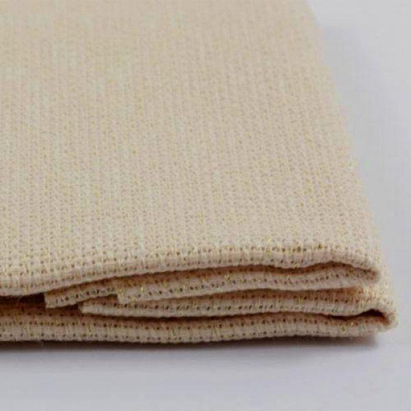 К5.5 Ткань для вышивки Аида14ct (беж с золотистым.люрексом) 50х50см. Коломийські тканини.Канва для вышивки