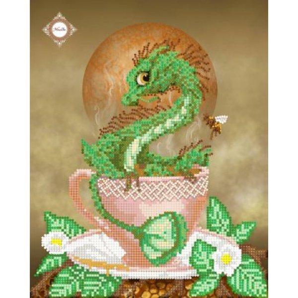 """СЛ-4116  Tea Drago.Серия """"Кофейная"""".ТМ Миледи.Схема для частичной вышивки бисером"""