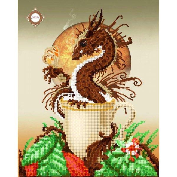 """СЛ-4117  Hot chocolate Drago.Серия """"Кофейная"""".ТМ Миледи.Схема для частичной вышивки бисером"""