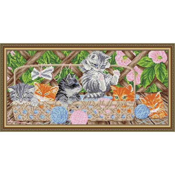 AT3212 Котята на террасе. ТМ ArtSolo. Набор для полной выкладки алмазами