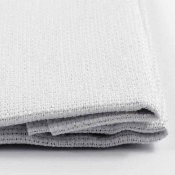 К5.5 Ткань для вышивки Аида14ct (белая с серебристым.люрексом) 50х50см. Коломийські тканини.Канва для вышивки