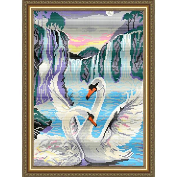 AT3003 Лебеди у водопада. ТМ ArtSolо. Набор для полной выкладки алмазами