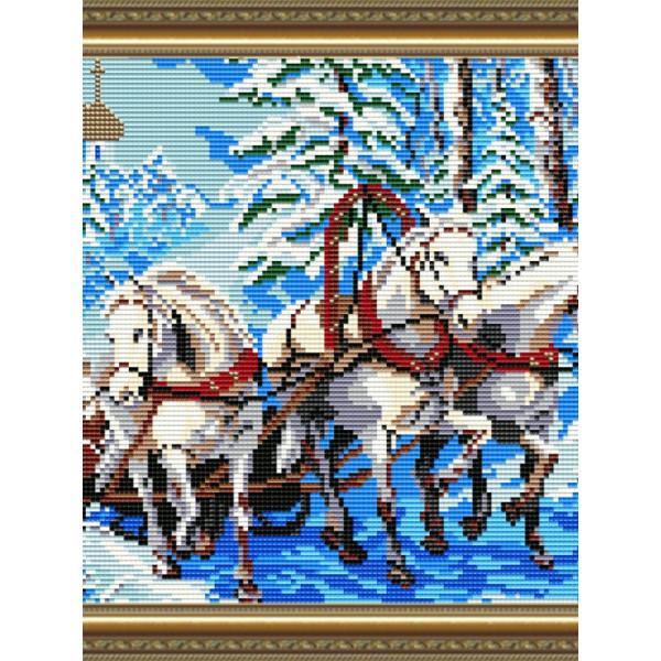 AT3004 Тройка лошадей. ТМ ArtSolo. Набор для полной выкладки алмазами