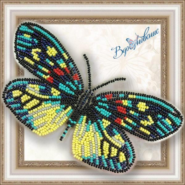 BGP-007 Бабочка Erasmia Pulehera. ТМ Вдохновение. Набор для вышивки бисером на прозрачном пластике