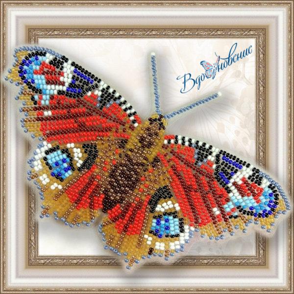 BGP-009 Бабочка Павлиний Глаз. ТМ Вдохновение. Набор для вышивки бисером на прозрачном пластике