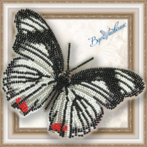 BGP-011 Бабочка Hypolimnas usambara. ТМ Вдохновение. Набор для вышивки бисером на прозрачном пластике