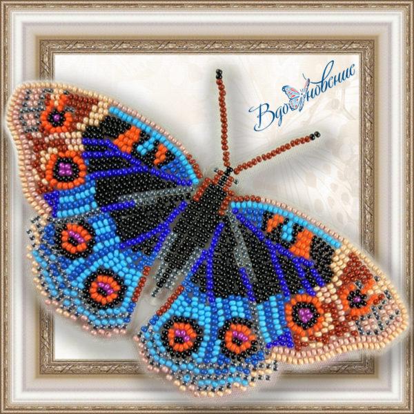 BGP-012 Бабочка Анютины Глазки. ТМ Вдохновение. Набор для вышивки бисером на прозрачном пластике