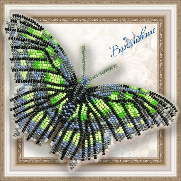 BGP-013 Бабочка Малахитовая. ТМ Вдохновение. Набор для вышивки бисером на прозрачном пластике