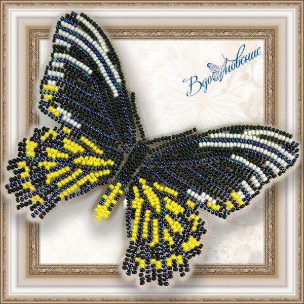 BGP-014 Бабочка Золотая Птицекрылка Радамант. ТМ Вдохновение. Набор для вышивки бисером на прозрачном пластике