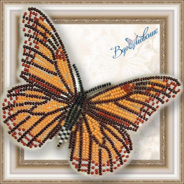 BGP-001 Бабочка Данаида Монарх. ТМ Вдохновение. Набор для вышивки бисером на прозрачном пластике
