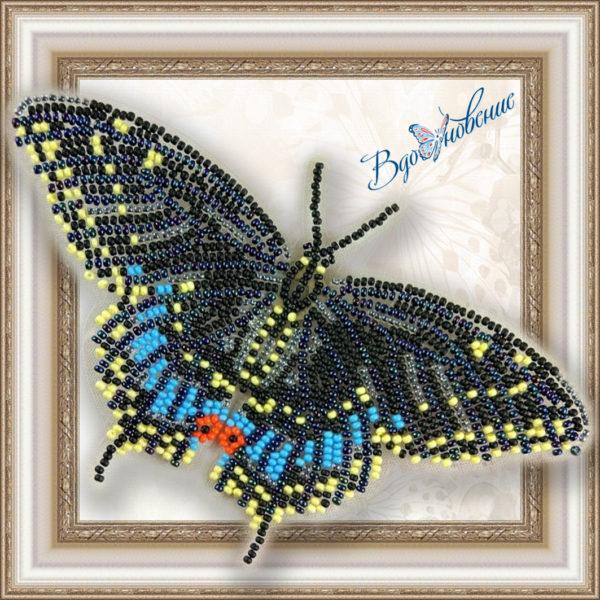 BGP-003 Бабочка Черный Махаон. ТМ Вдохновение. Набор для вышивки бисером на прозрачном пластике