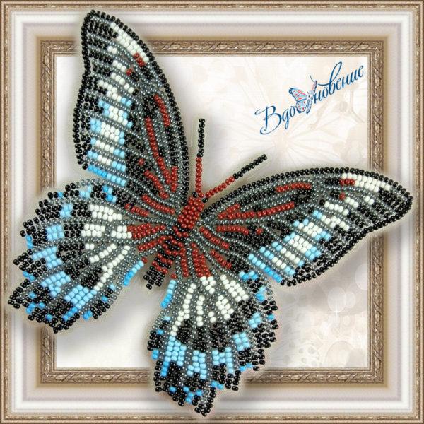 BGP-004 Бабочка Парусник Полимнестор. ТМ Вдохновение. Набор для вышивки бисером на прозрачном пластике